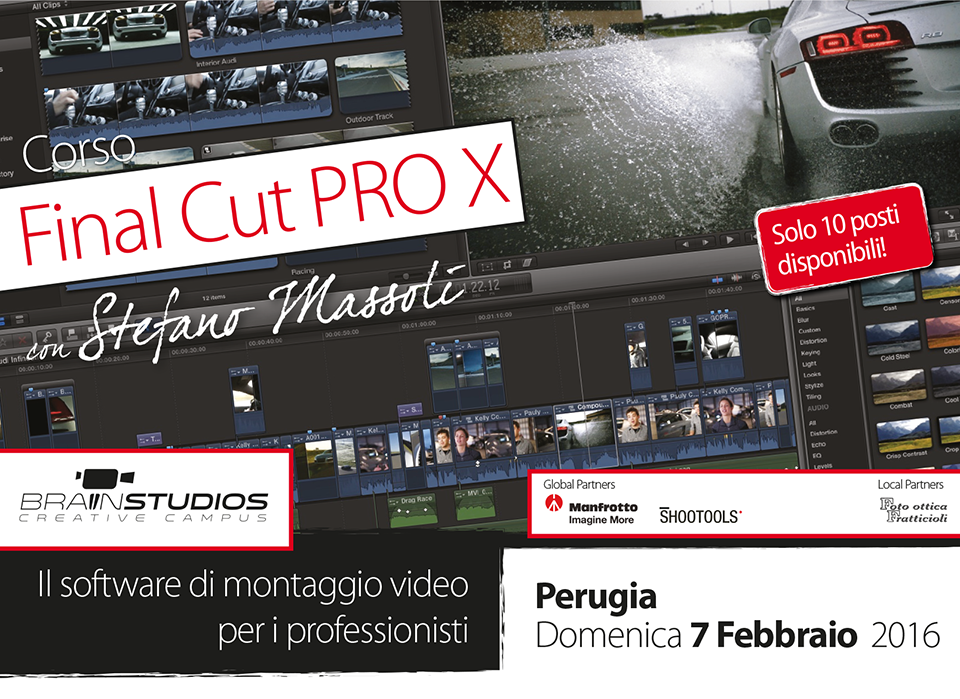 corso base apple final cut pro x editing segreti funzioni finalcut codec rendering libreria final cut proxy personaggio compound clips stabilizzazione editing multicam